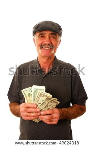 Senior man holding fan of dollar bills - stock photo