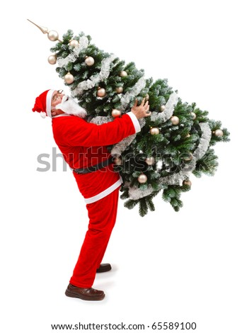 Senior man in Santa Claus uniform, carrying a decorated christmas tree