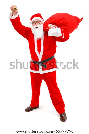 Senior man in Santa Claus uniform, holding a bag and ringing with small tinkle