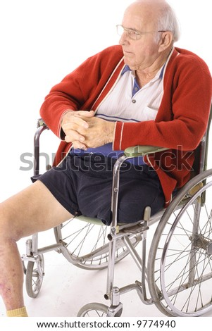 senior man in wheelchair - stock photo