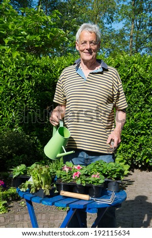 Senior man is working in the garden - stock photo