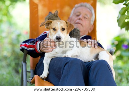 Senior man lying in sunbed in courtyard while dog and cat sitting in his lap