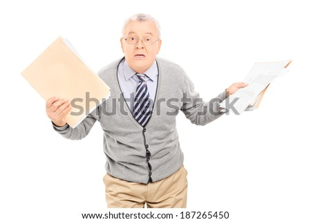 Senior man panicking with papers in his hand isolated on white background - stock photo