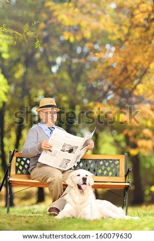 Senior man seated on a bench reading a newspaper with his labrador retriever, in a park, shot with a tilt and shift lens - stock photo