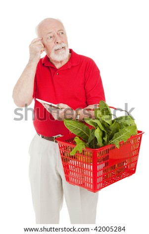Senior man shopping for groceries has forgotten what's on his list.  Isolated on white. - stock photo