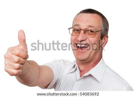 senior man showing ok sign isolated on white background - stock photo