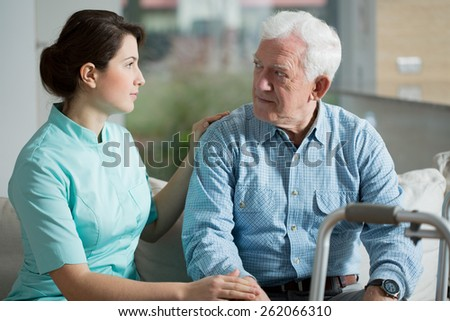 Senior man staying in old's people home - stock photo