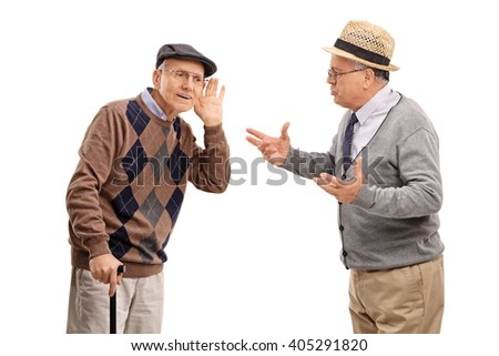 Senior man struggling to hear a friend in a discussion isolated on white background - stock photo