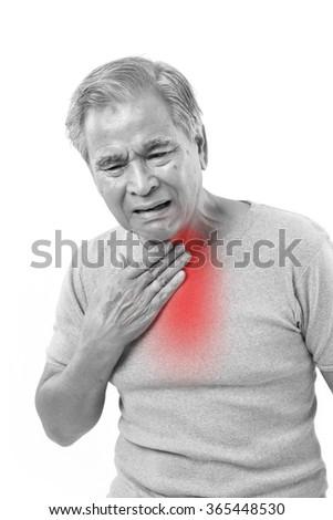 senior man suffering from sore throat - stock photo