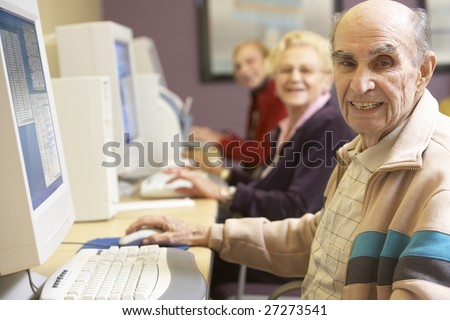 Senior man using computer