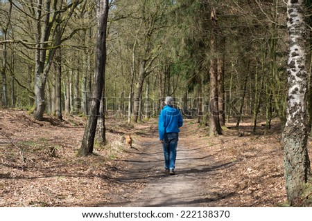 Senior man walking the dog in spring forest - stock photo