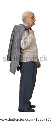Senior man with a coat over his shoulder standing-up against a white background,profile. - stock photo