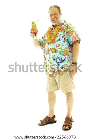 Senior man with exotic cocktail