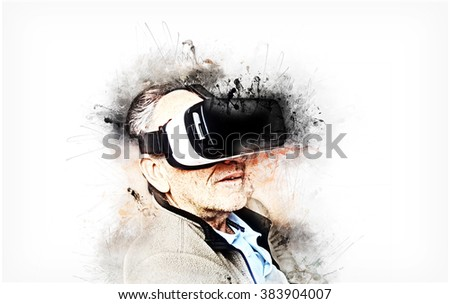 Senior man with mobile virtual reality headset (Creative paint artwork)