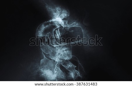 Senior man with mobile virtual reality headset (Smokey spirit effects artwork)
