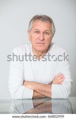 Senior man with serious expression