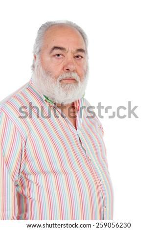 Senior man with white beard isolated on background - stock photo