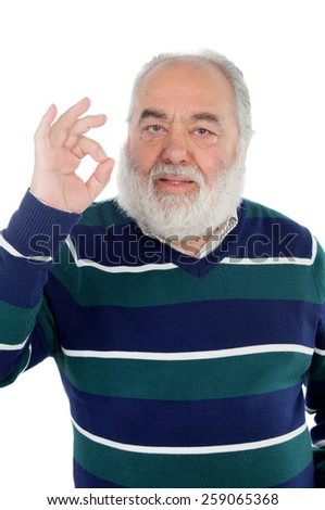 Senior man with white beard saying Ok with his hand isolated on background - stock photo