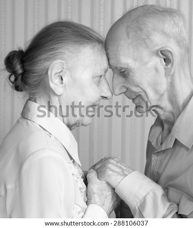 Senior Man, Woman at Home. Concept of Health Care for Elderly Old People, Disabled. Black and white photo