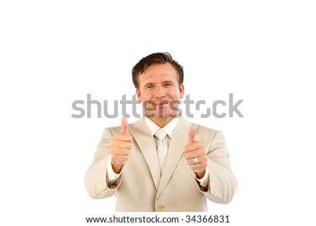 Senior manager looking at the camera showing thumbs up