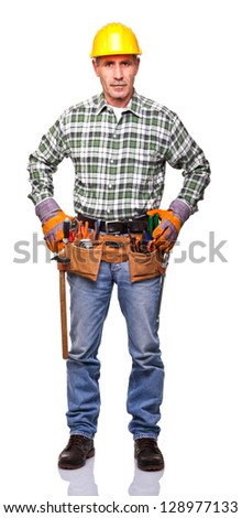senior manual worker isolated on white background
