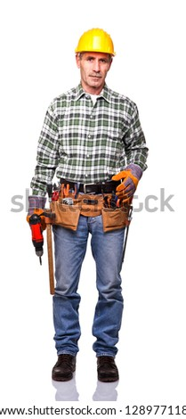 senior manual worker portrait isolated on white - stock photo
