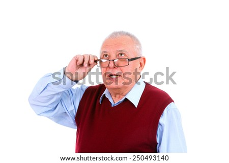 Senior mature man looking up, Human emotions and facial expressions. Isolated