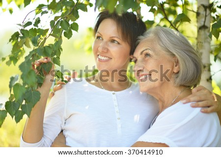 senior Mother and daughter in  park