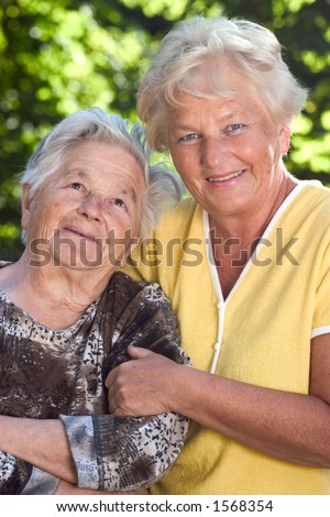 Senior mother with her 60 year old daughter.