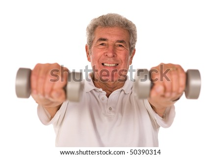 Senior older man lifting weights during gym workout session - stock photo