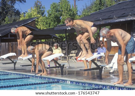 Senior Olympic Swimming competition, Men at starting gate, Ojai, CA