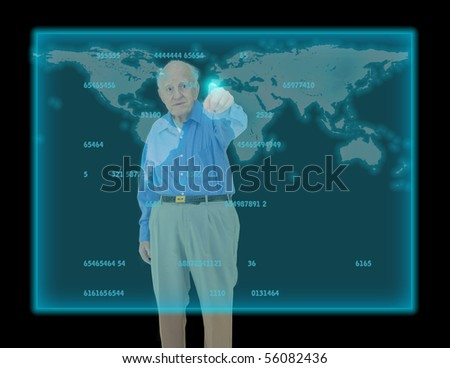 Senior points at location on future display - stock photo