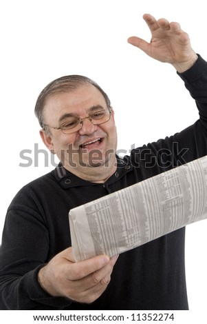 Senior reads newspaper