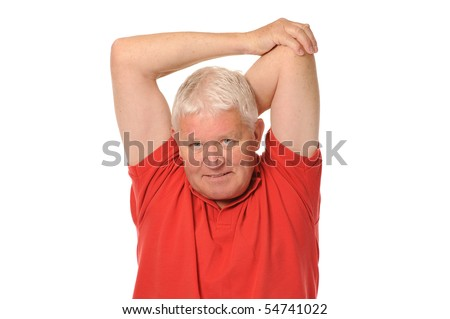 Senior retired older man stretching on white background