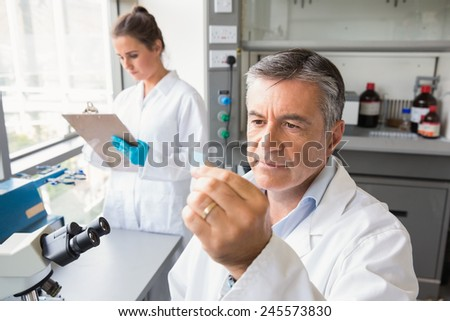 Senior scientist looking at slide at the laboratory - stock photo