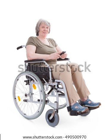 Senior sitting in wheelchair using smart phone. All on white background.