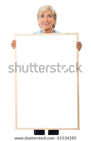 Senior smiling business woman hold a blank placard  isolated on white background