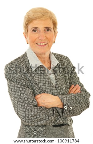 Senior smiling executive woman standing with arms folded isolated onw hite background - stock photo