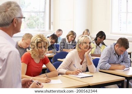 Senior tutor teaching class - stock photo