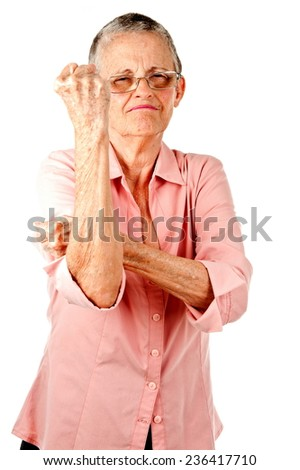 Senior very angry over white background  - stock photo