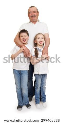 senior with children family portrait on white - stock photo
