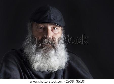 Senior with full white beard - stock photo