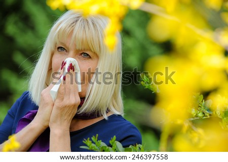 Senior Woman Allergic To Pollen - stock photo