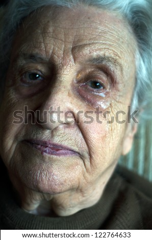 senior woman crying