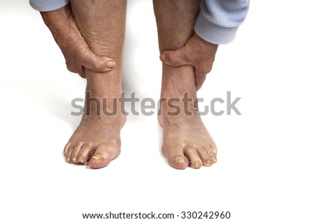 senior woman foot - stock photo