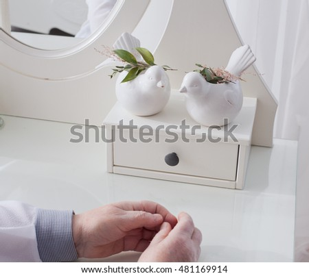 Senior woman hands keeping dove in her room