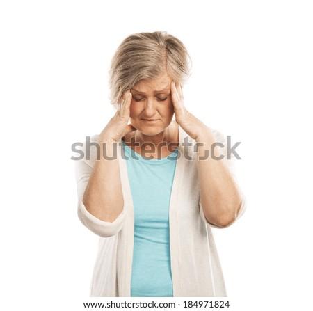 Senior woman has headache, isolated on white background - stock photo