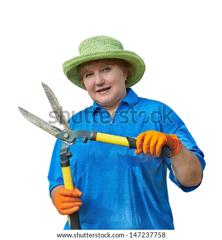 Senior woman holding in hands garden shears. Image is isolated on white. - stock photo