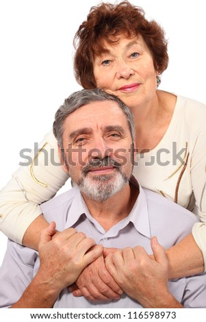 senior woman hug seat man, isolated