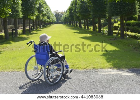 Senior woman in a wheelchair in the park - stock photo